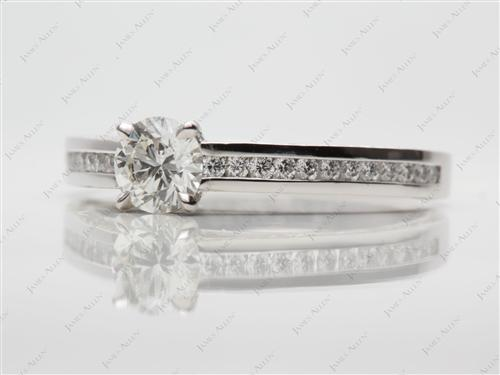 Platinum 0.72 Round cut Channel Set Diamond Rings