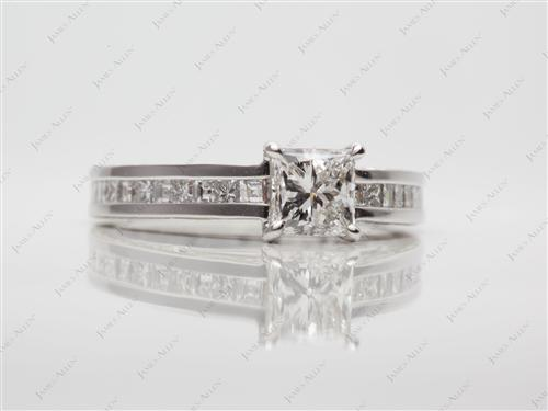 Platinum 0.75 Princess cut Channel Ring