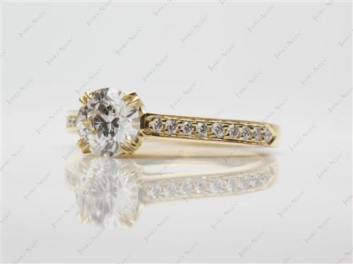 Gold 0.70 Round cut Pave Diamond Rings