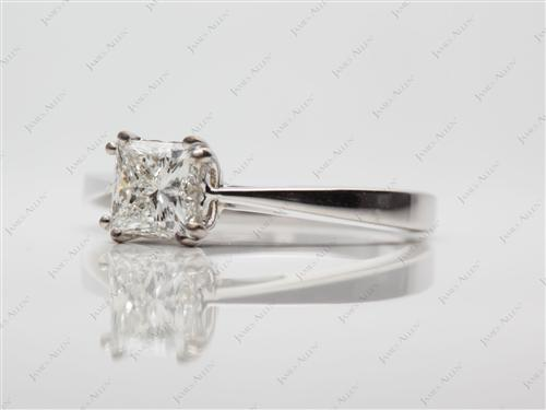 White Gold 0.75 Princess cut Solitaire Rings