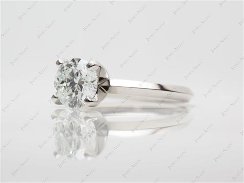 Platinum 1.01 Round cut Engagement Rings