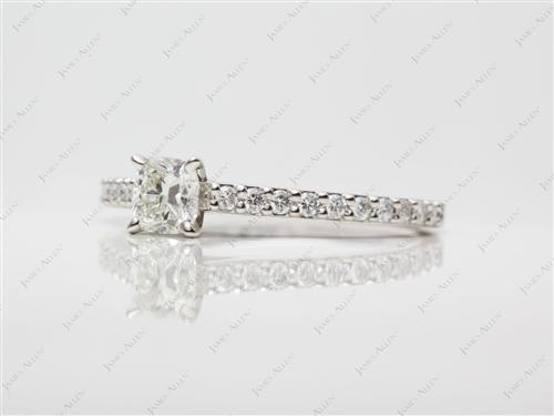Platinum 0.51 Cushion cut Engagement Ring Settings With Side Stones