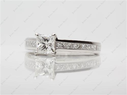 Platinum 0.73 Princess cut Channel Set Engagement Ring
