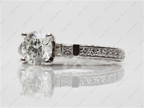 Platinum 1.17 Round cut Engagement Rings