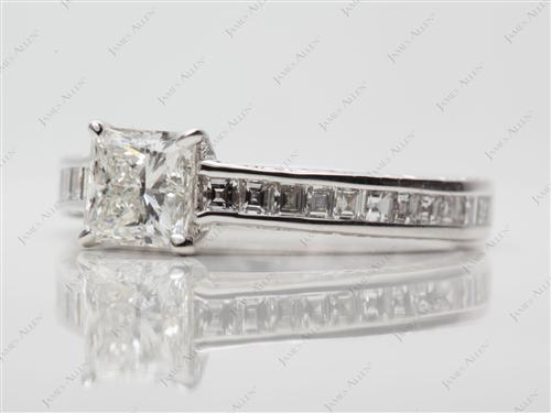 White Gold 0.81 Princess cut Channel Set Rings