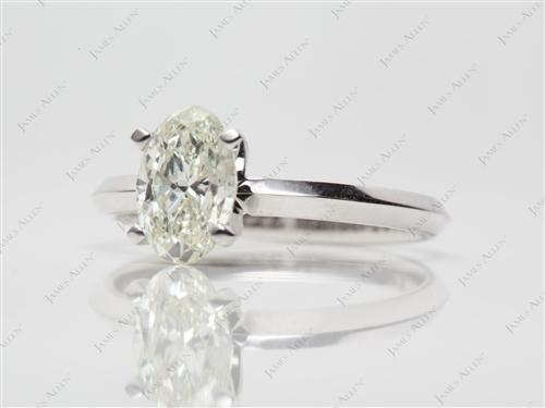 White Gold 1.00 Oval cut Solitaire Diamond Rings