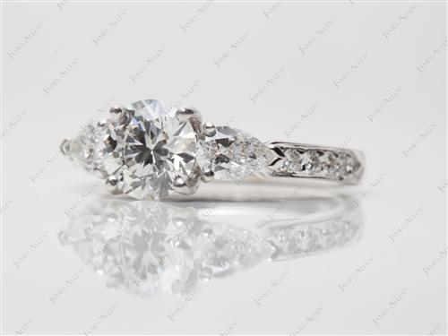 White Gold 1.05 Round cut Three Stones Diamond Rings