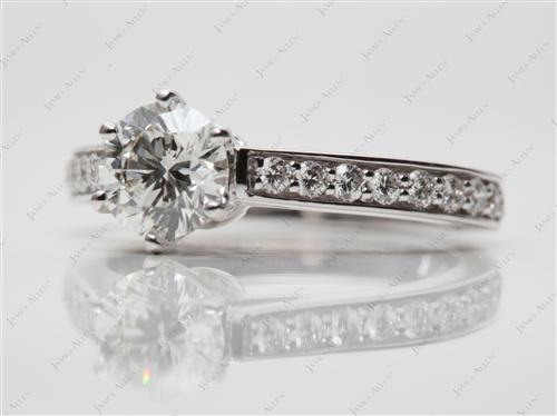 White Gold 0.92 Round cut Pave Ring Set