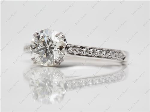 White Gold 1.05 Round cut Pave Ring Mountings