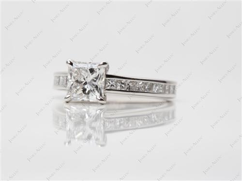 Platinum 1.05 Princess cut Channel Setting Ring