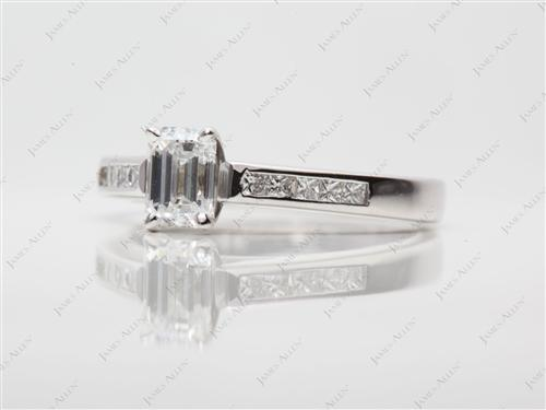 White Gold 0.60 Emerald cut Channel Cut Ring
