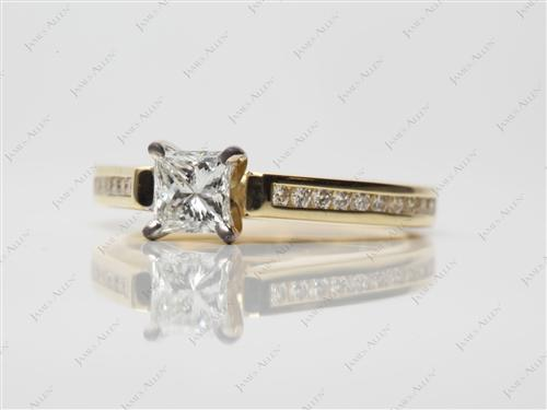 Gold 0.51 Princess cut Channel Engagement Ring