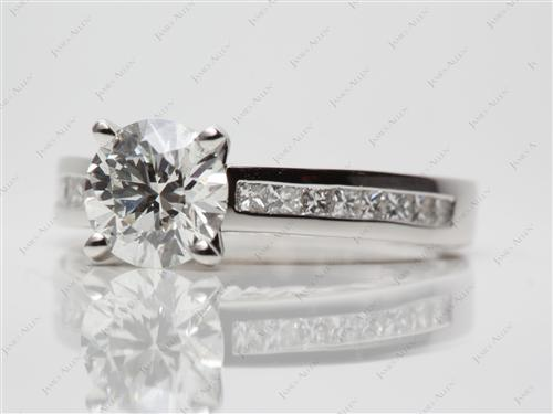 Platinum 1.50 Round cut Channel Engagement Ring