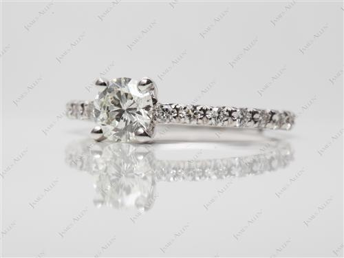 White Gold 0.61 Round cut Pave Engagement Rings