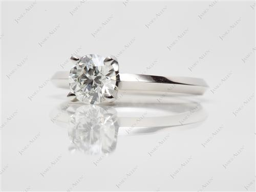 Platinum 0.62 Round cut Engagement Rings