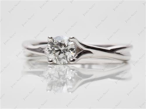 White Gold 0.52 Round cut Diamond Engagement Solitaire Rings