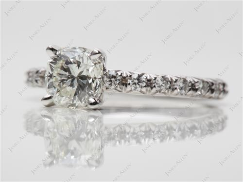 White Gold 0.94 Cushion cut Pave Ring Settings