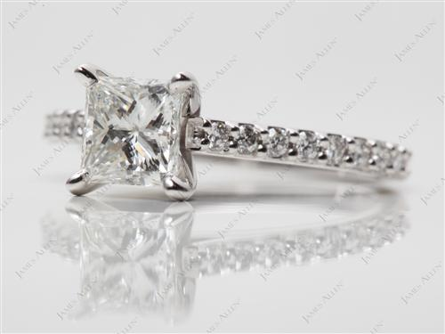 White Gold 1.00 Princess cut Engagement Ring With Side Stones