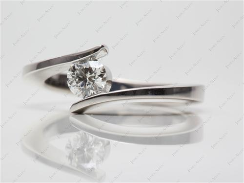 Platinum 0.50 Round cut Solitaire Rings