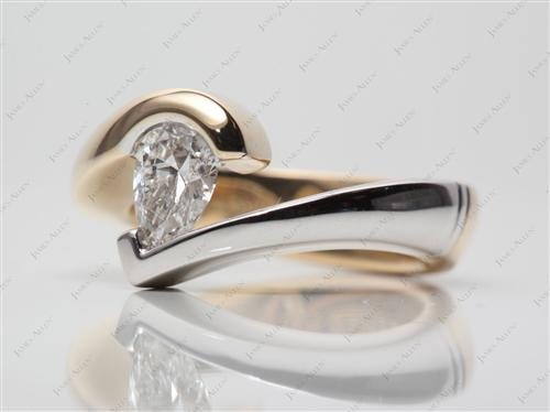 White Gold 0.60 Pear shaped Tension Setting Engagement Rings