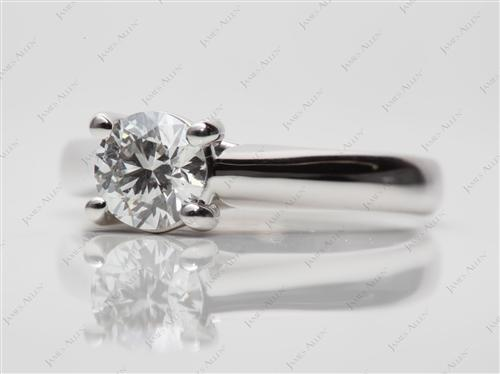 Platinum 0.77 Round cut Solitaire Engagement Ring