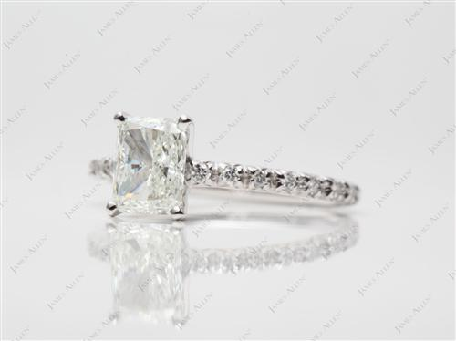 White Gold 1.02 Radiant cut Engagement Ring Micro Pave