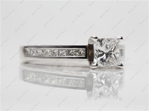 White Gold 1.06 Princess cut Channel Set Diamond Band