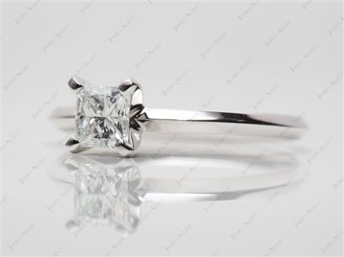 White Gold 0.54 Princess cut Engagement Ring