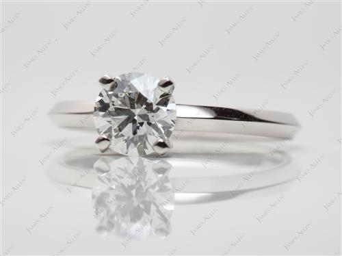 Platinum 0.79 Round cut Solitaire Diamond Rings