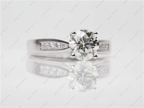 White Gold 1.31 Round cut Channel Cut Ring