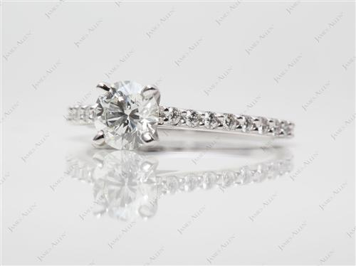 White Gold 0.82 Round cut Side Stone Engagement Ring