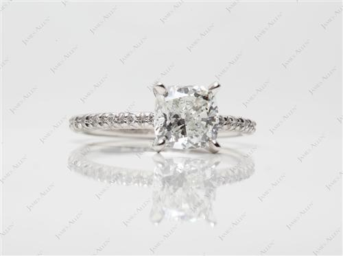 Platinum 1.51 Cushion cut Pave Engagement Ring