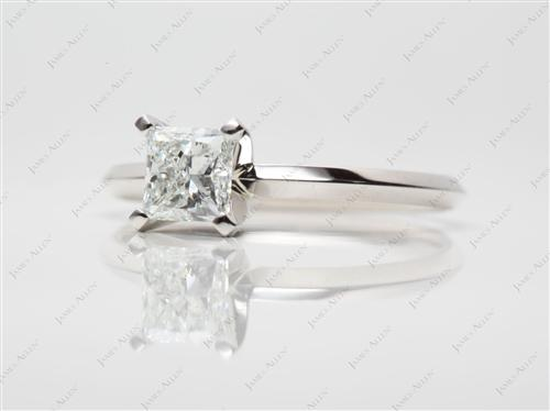 Platinum 0.90 Princess cut Diamond Solitaire Engagement Ring