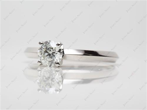Platinum 0.70 Round cut Round Solitaire Ring
