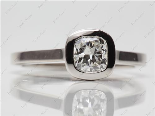 Platinum 0.80 Cushion cut Round Solitaire Ring