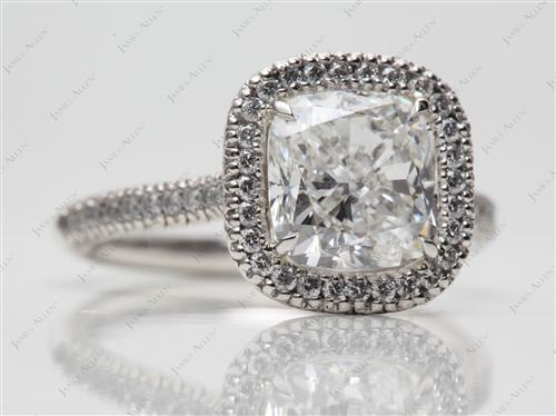 Platinum 2.52 Cushion cut Pave Ring Setting