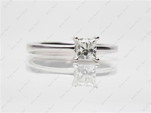 White Gold 0.60 Princess cut Solitaire Ring