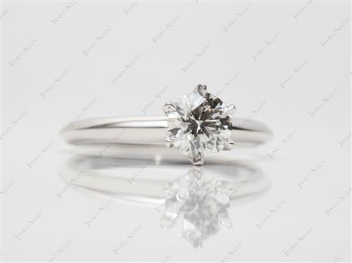 Platinum 0.79 Round cut Diamond Solitaire Rings