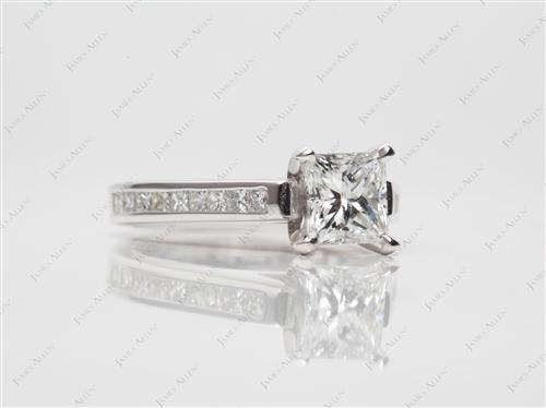 White Gold 0.92 Princess cut Channel Set Diamond Engagement Ring