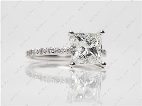 Platinum 2.25 Princess cut Pave Ring Setting