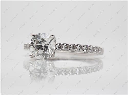 White Gold 1.40 Round cut Engagement Rings Side Stones