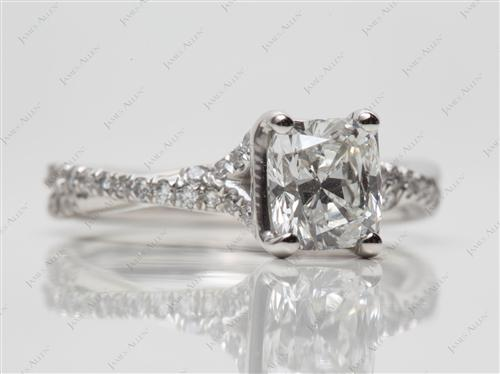 Platinum 1.12 Cushion cut Pave Ring
