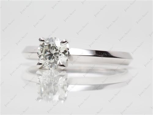 White Gold 0.78 Round cut Round Solitaire Ring