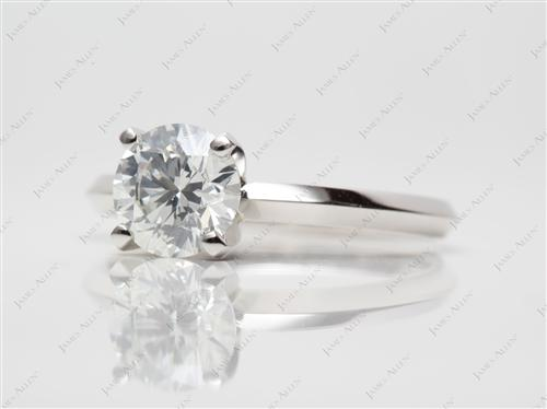 Platinum 1.20 Round cut Solitaire Diamond Rings