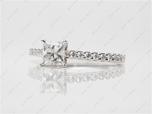 White Gold 0.70 Princess cut Side Stone Engagement Ring