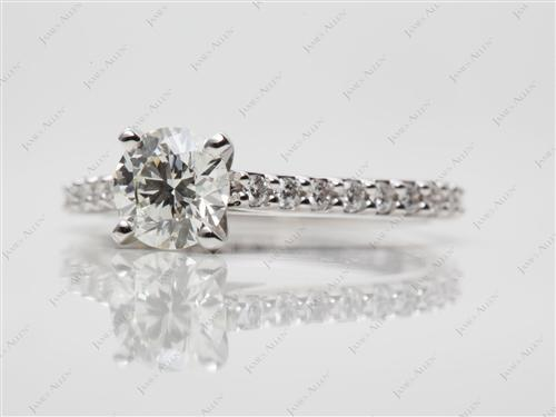 White Gold 0.78 Round cut Princess Cut Engagement Rings With Side Stones