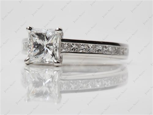 Platinum 1.29 Princess cut Channel Set Diamond Rings