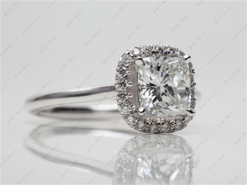 White Gold 1.51 Cushion cut Micro Pave Engagement Rings