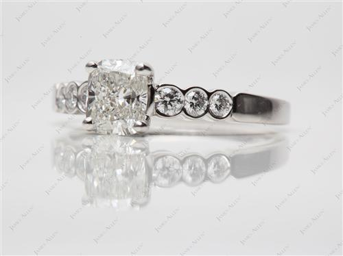 Platinum 1.60 Cushion cut Engagement Rings Side Stones