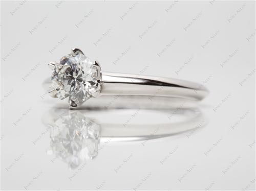 Platinum 0.81 Round cut Diamond Engagement Solitaire Rings